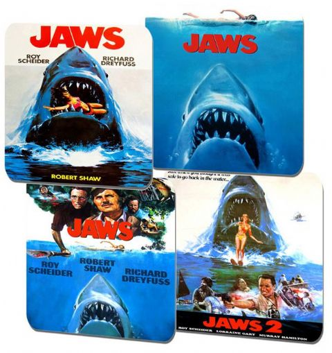 Jaws Movie Poster Coasters Set Of 4. High Quality Cork. Classic Shark Film Gift